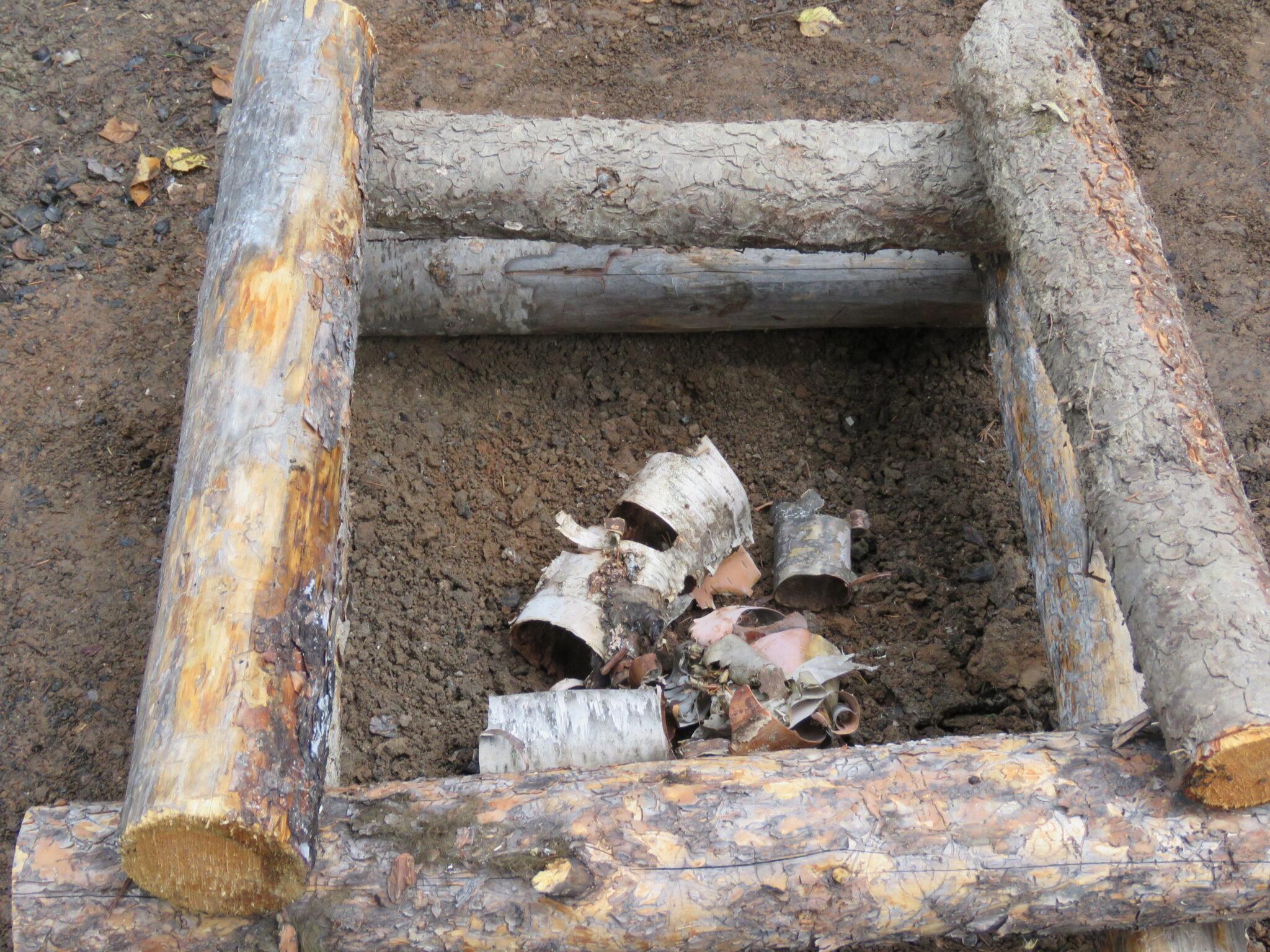 Feueraufbau für Schwitzhütte Kanada